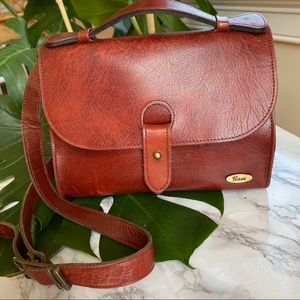 Vintage Bass Red-Brown Leather Crossbody Bag
